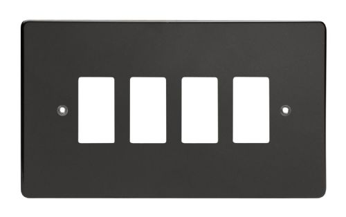 Varilight XDLPG4 PowerGrid Premium Black 4 Gang Grid Plate (Twin Plate)